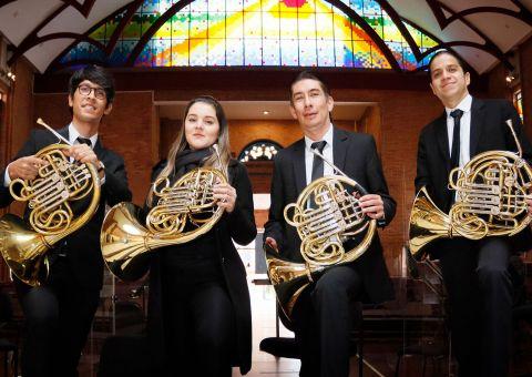 El Cuarteto de Cornos de la Orquesta Filarmónica de Bogotá se presentará este domingo 9 de mayo en el Teatro Mayor Julio Mario Santo Domingo